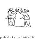 two children building snowman vector illustration 35479032