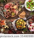 Christmas themed dinner table 35480986