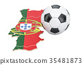 Football ball with map of Portugal concept 35481873
