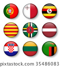 Set of world flags round badges  35486083