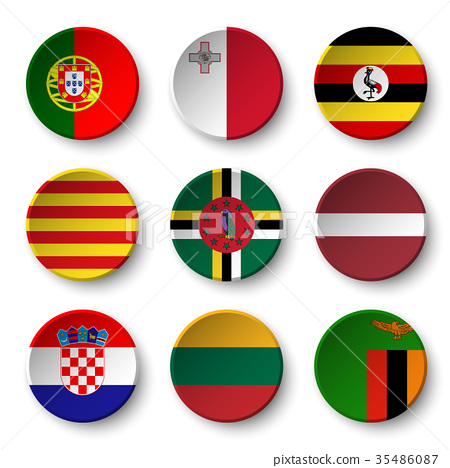 Set of world flags round badges  35486087