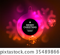 Glowing Christmas ball and snowflakes vector 35489866