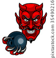 Devil Bowling Sports Mascot 35490216