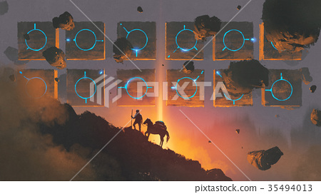 man and horse walking up a mysterious mountain 35494013