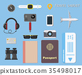 Hi tech travel gadget and object on blue 35498017