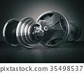 Barbell and dumbell. Sports bodybuilding equipment 35498537