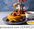 Stack of pumpkin pancakes with figs and honey 35499520