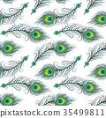 Seamless pattern of peacock feathers 35499811