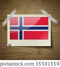 Flags Norway at frame on wooden texture. Vector 35501559
