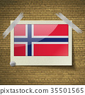 Flags Norwayat frame on a brick background. Vector 35501565