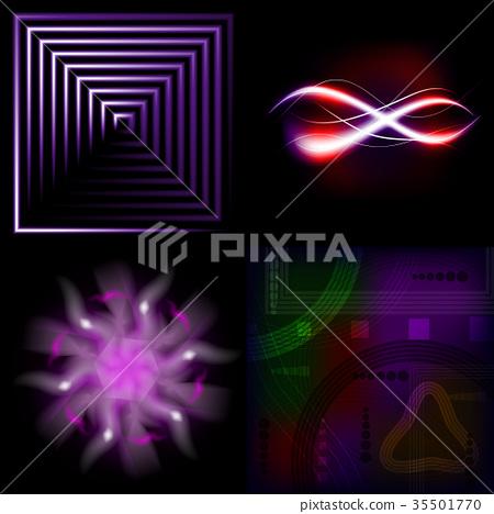 Set of Beautifully glowing neon abstract backgroun 35501770