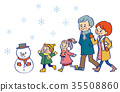 2 generation family winter winter snow and snowman 35508860