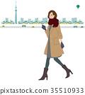 ผู้หญิงเดินภาพประกอบฤดูใบไม้ร่วงฤดูหนาว 35510933