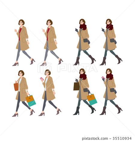 걷는 여성 일러스트 가을 겨울 35510934