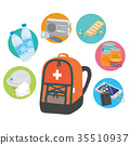 Emergency carry out bag disaster prevention goods illustration 35510937