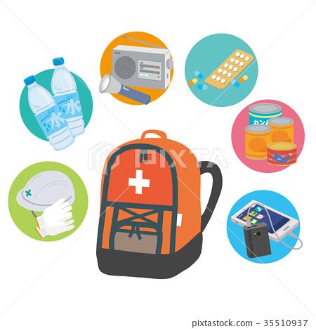 緊急執行袋子防災用品例證 35510937