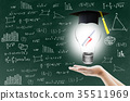hand holding light bulb with certification 35511969