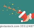 Santa claus with reindeer sleigh flying 35512487