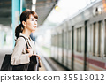 Train move business woman photography cooperation · Keio Electric Railway Co., Ltd. 35513012