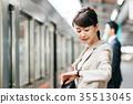 기차 이동 비즈니스 여성 촬영 협조 · 게이오 전철 주식회사 35513045