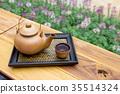 Asian tea set on bamboo tray 35514324