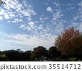 藍天和白色雲彩在秋天Yatsu潮汐公園 35514712