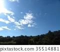 秋天Inage海滩公园蓝天和白色云彩 35514881