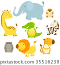 动物 长颈鹿 斑马 35516239