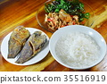 boiled rice eat with stir fried crispy basil leaf  35516919