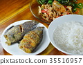 boiled rice eat with stir fried crispy basil leaf  35516957