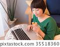 여성, 녹색, 먹고 35518360