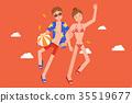 Romantic couple wearing swimsuit. 35519677