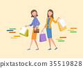 Two women are holding a shopping bag. 35519828