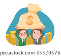 Two men holding a moneybag 35520576