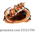 日式烤雞串 雞肉烤串 醬汁 35521794