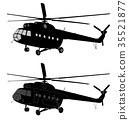 silhouette of russian MI-8 helicopter 35521877
