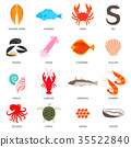 Seafood and fish icons 35522840