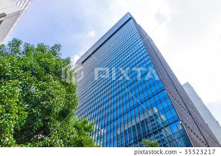 辦公區域的風景與綠色的 35523217