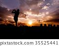silhouette Man playing golf  35525441