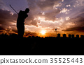 silhouette Man playing golf  35525443