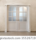 white double-leafed door of classical design 35526719