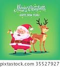 Cute cartoon Santa Claus ringing bell and funny 35527927