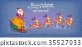 Cute cartoon Santa Claus riding reindeer sleigh 35527933