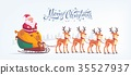 Cute cartoon Santa Claus riding reindeer sleigh 35527937
