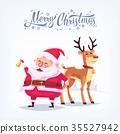 Cute cartoon Santa Claus ringing bell and funny 35527942