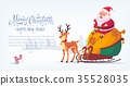 Cute cartoon Santa Claus sitting in sleigh with 35528035