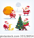Collection of cartoon vector Santa Claus icons 35528054