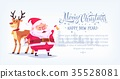 Cute cartoon Santa Claus ringing bell with 35528081