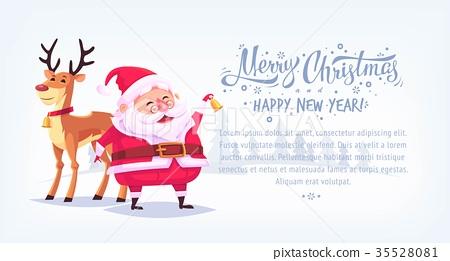 Cute cartoon Santa Claus ringing bell with 35528081