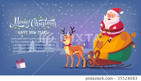Cute cartoon Santa Claus sitting in sleigh with 35528083